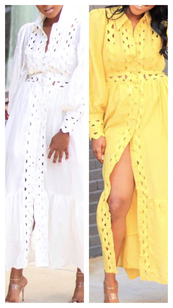 Julia Eyelet Long Sleeve Maxi Dress ( Also Available in Plus)