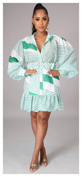 Stripes have more Fun Balloon Sleeve Dress