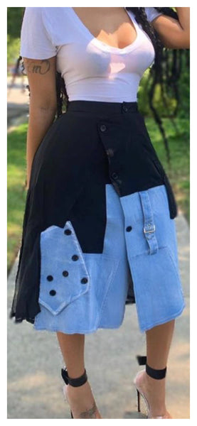 Denim Pocket Dual Skirt