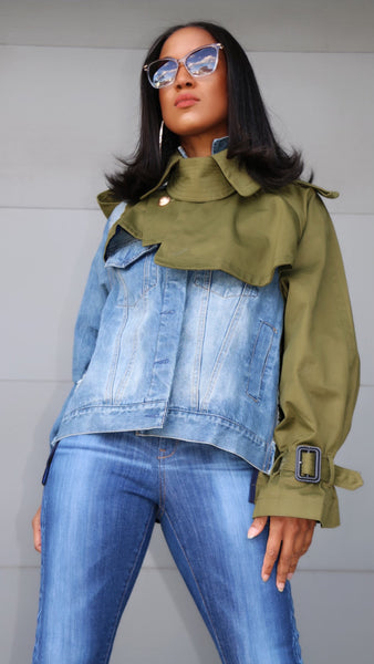 This is IT! Long Sleeve Two Tone Oversized Denim Jacket