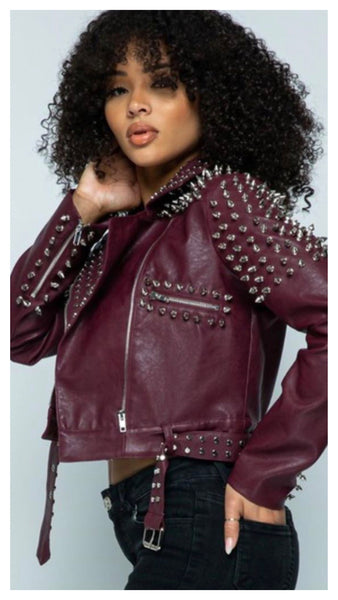 Studs in My Way Crop Belted Jacket
