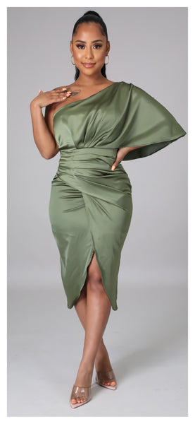 After Sunset Off Shoulder Dress (Olive & Ivory)