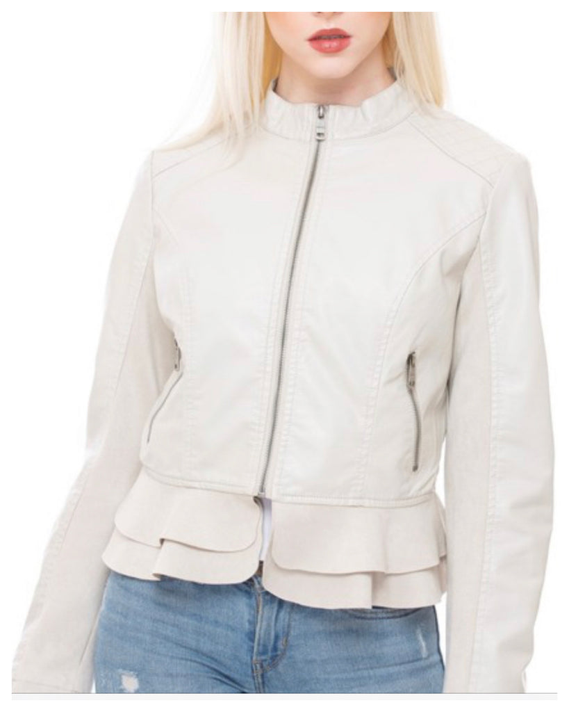 Cute & Sassy Peplum Vegan Jacket
