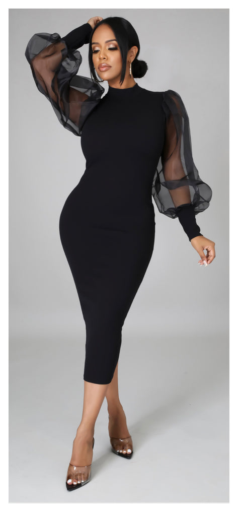 Such a Lady Sheer Bubble Sleeve Dress (Black)
