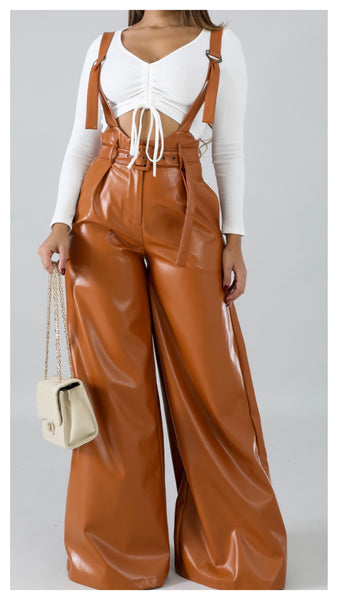 Suspended in My Wide Leg Faux Leather Pants (Caramel)
