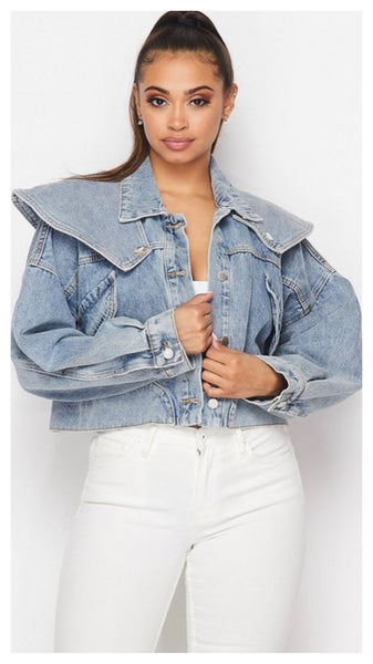 Crop my Denim Flap Over Jacket