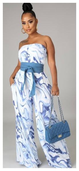 Flows in the Blue Waves Sleeveless Jumpsuit