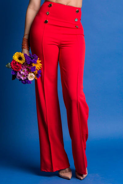 Rina High Waisted Sailor Button Wide Leg Pants (RED)