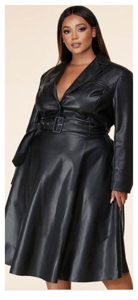 Half & Half 2pc Leather Skirt Set (Plus size 1XL - 3XL)