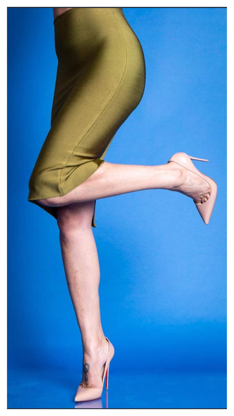 The Stacey Bandage Midi Skirt (OLIVE)