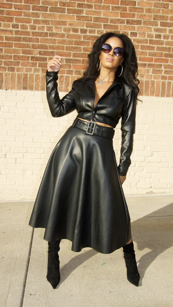 Half & Half 2pc Leather Skirt Set