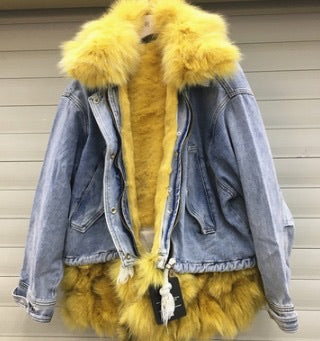 Let's Get Cozy Denim Fur Drawstring Jacket ( Two colors)