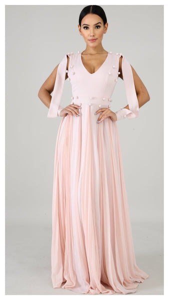 Pink Waves Long Maxi Open Arm Dress