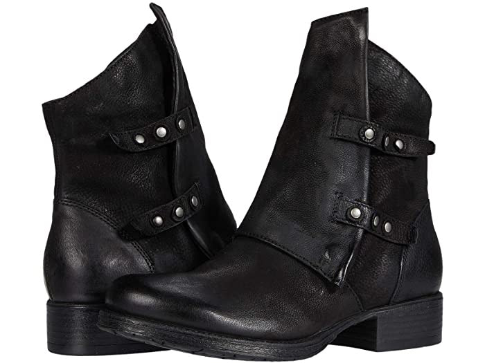 Comfy Comfort Dual Button Leather Bootie (Black)
