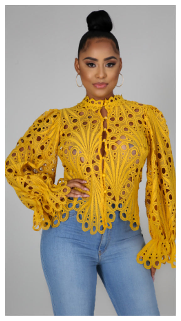 Fairy Tale Open Sheer Top (Mustard)