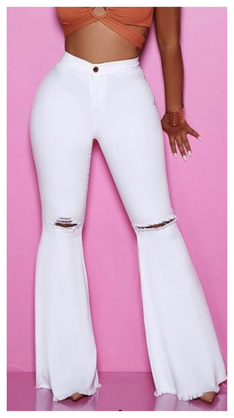 Spring has Sprung Distressed Wide Leg Jean ( White)