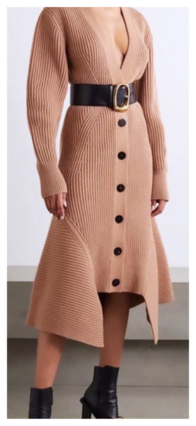 Lady Chic Ribbed Sweater Dress