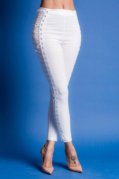Laced In High Waisted Skinny Ankle Pant (WHITE)