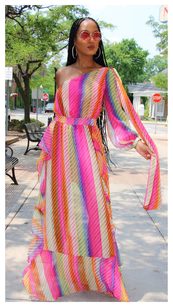 Playing in Pastels One Shoulder Maxi Dress