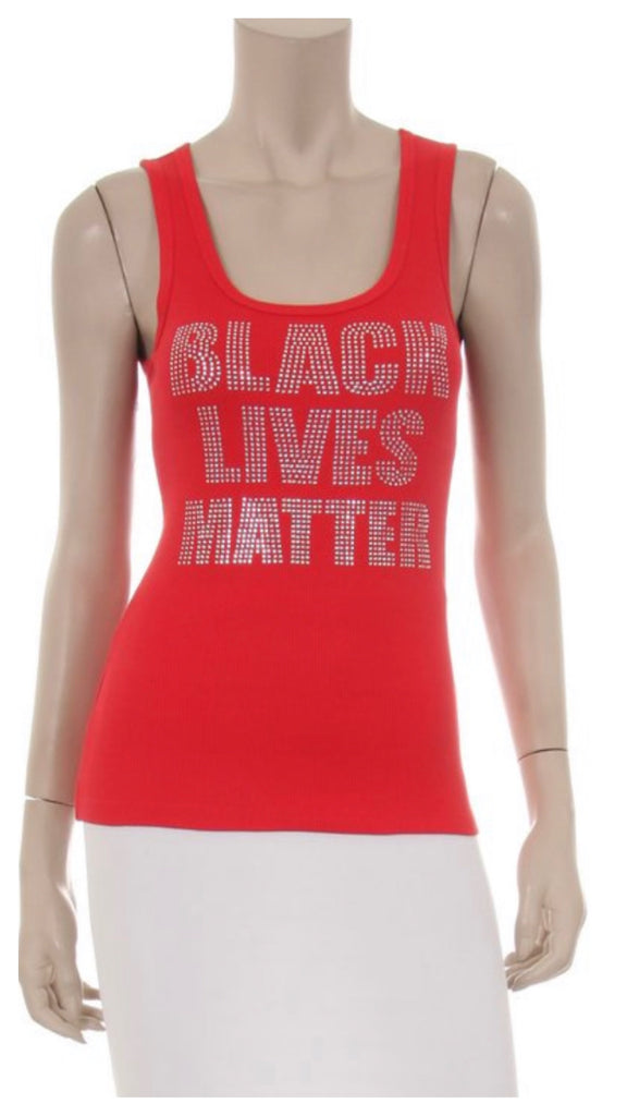 Black Lives Matter Rhinestone Bling Tank Top