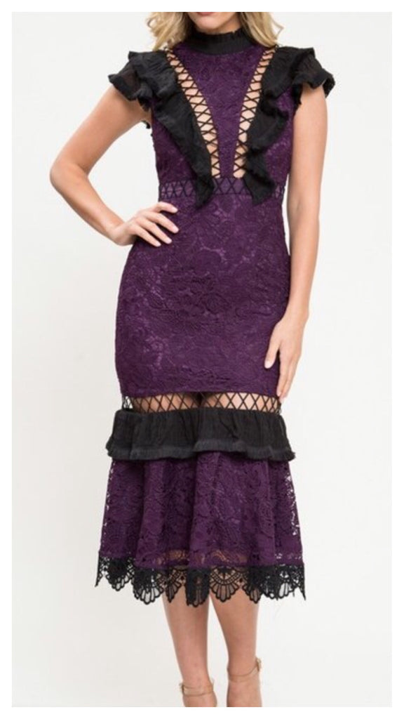 Fitted Beauty Lace Cut-out Fitted Dress