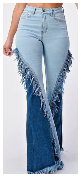 Frayed Along Two Tone Wide Leg Jean