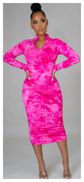 Pretty in Pink MIDI Fitted Dress