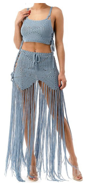 Gypsy Night Crochet Swmsuit Coverup (Blue)