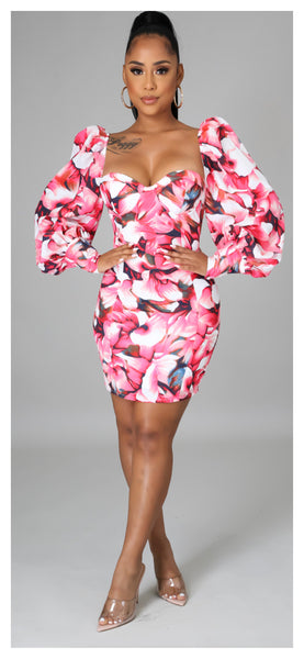 Island of Paradise Puff Sleeve Flower Dress