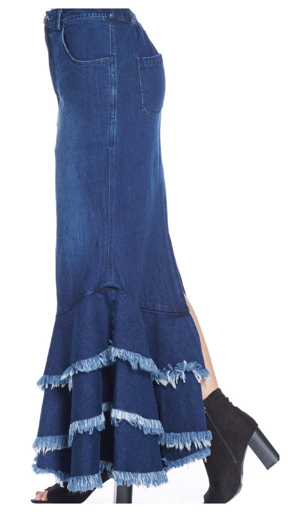 Liven Denim Life Long Maxi Denim Tiered Skirt