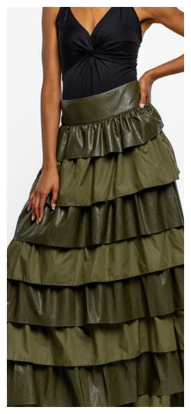 It's Layers to This Dual Material Maxi Skirt (Olive)