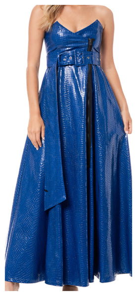 Touched By Leather Long Maxi Zip Skirt (Royal Blue)