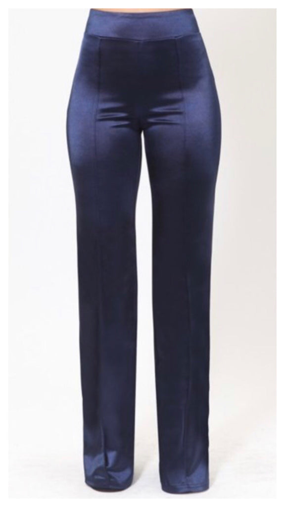 Dress It Up Hi-Waist Satin Pants (Navy)