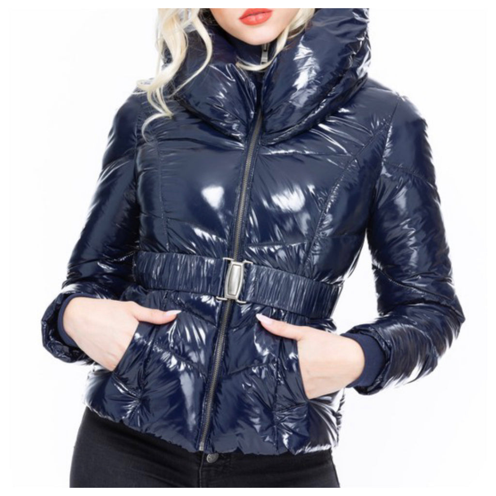 The Blues Have it Fitted Belted Puffer Jacket