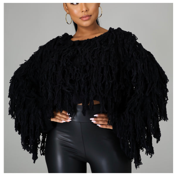 Fuzzy Fuzz Shredded Crop Sweater