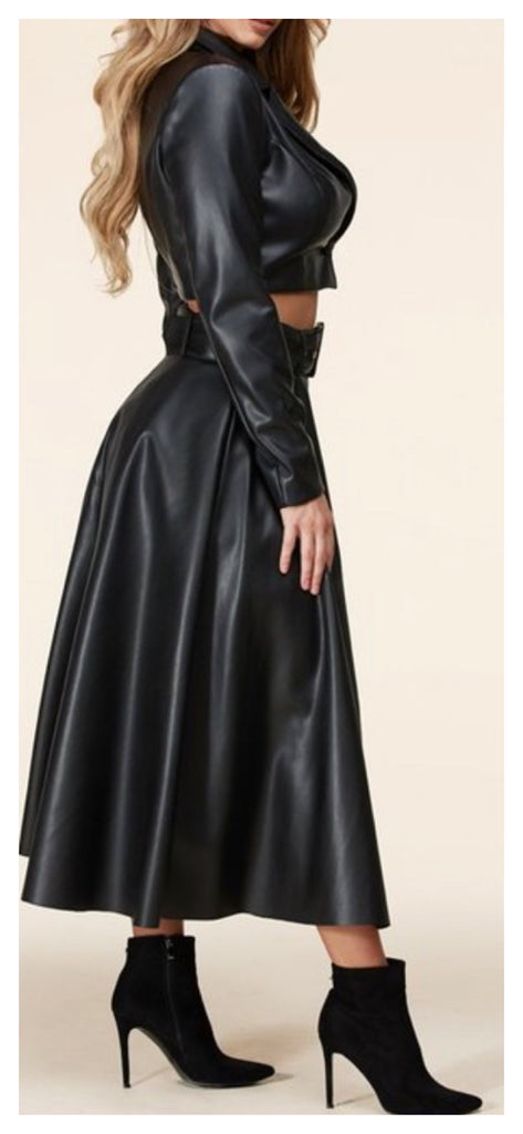 Half & Half 2pc Leather Skirt Set (Sizes Small - 3XL)