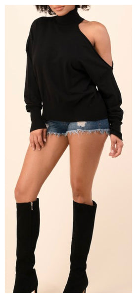 Shoulder Action Oversized Turtleneck Softy Sweater ( Black)