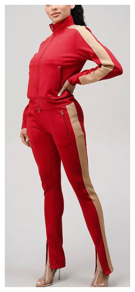 Two Tone Tracks 2pc Jogger Set ( Red/Tan) - Available in Plus