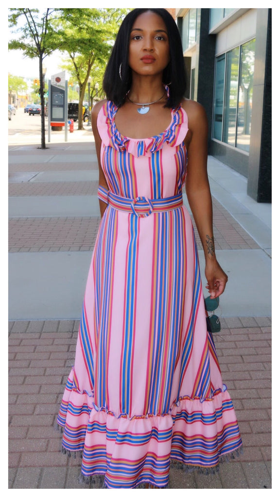 Angelina Backless Belted Maxi Dress