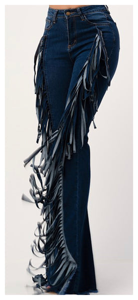 Fringe me Baby High Waisted Wide Leg Jeans