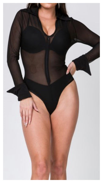 Sheer Mess Zipper Front Bodysuit