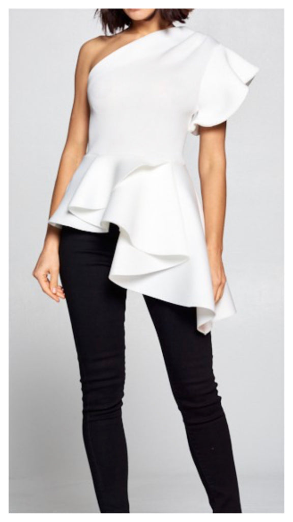 White Gardenia One Shoulder Peplum Top