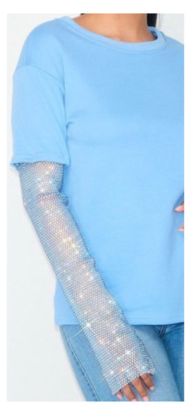 Sparkle It Rhinestone Sweatshirt Top (Blue)