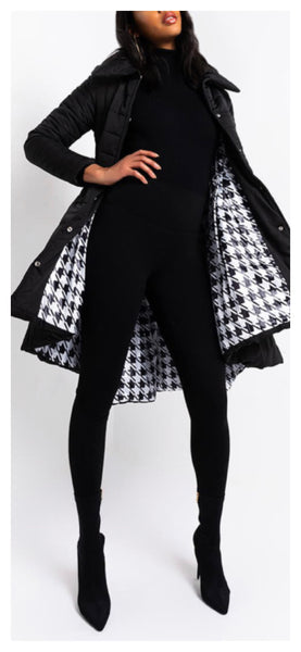 Checkered Past Asymmetric Puffer Coat