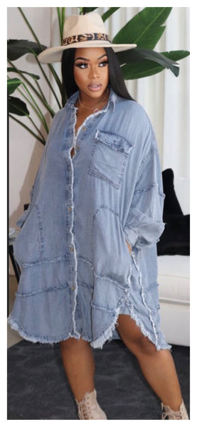 Nicely Frayed Oversized Denim Dress
