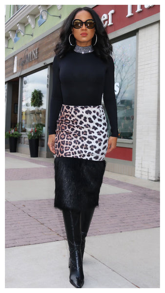 Tame this Tease Leopard & Faux Fur Skirt
