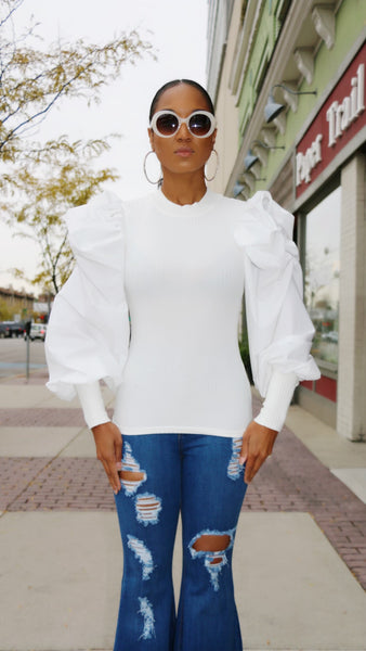 Puffs On My Sleeve Knit Mock Neck Top (More Colors)