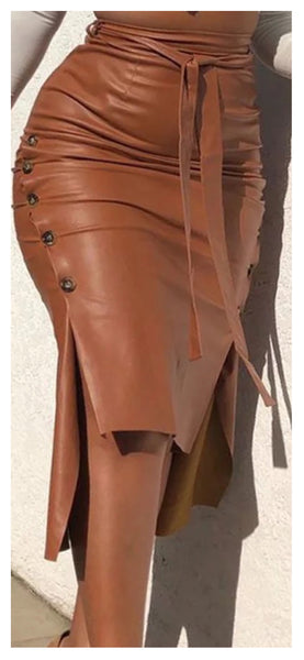 Listen Up Button Up Faux Leather Skirt