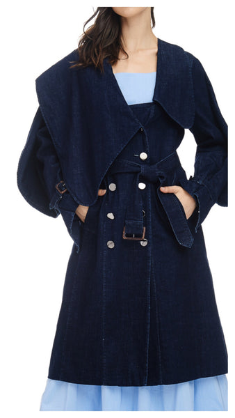 Denim Rules Double Breasted Denim Trench Coat