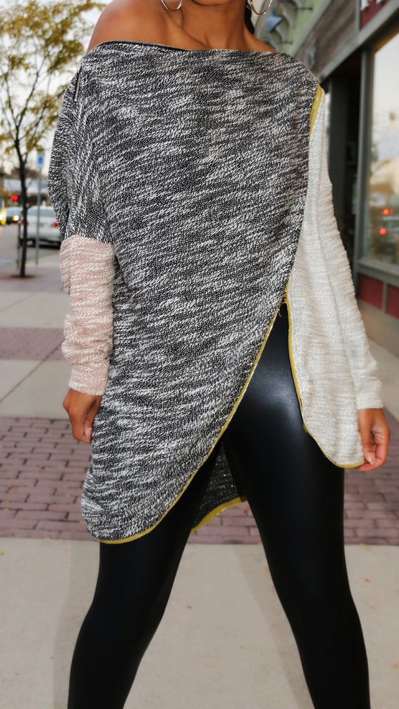 Zip IT! Light Knit Off Shoulder Zipper Sweater